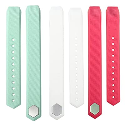 bayite Accessory Silicone Watch Band for Fitbit Alta, Pack of 3, White Pink Teal, Large Small
