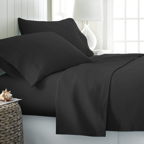 Threads Collection Premium 600 Thread Count Ultra Soft 600TC 4ps Bed Sheet Set Fits Upto 15'' Deep Pocket 100% Egyptian Cotton {Queen Black Solid