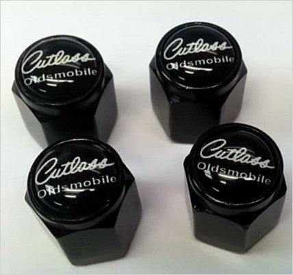 Oldsmobile Cutlass Supreme 442 Valve Stem Caps (Black - Black/White)