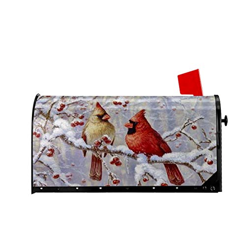 Foruidea Cardinals Red Bird Snow Mailbox Covers Magnetic Mailbox Wraps Post Letter Box Cover Standard Oversize 21 X 18 Mailwrap Garden Home Decor (Mailbox Wraps Covers)