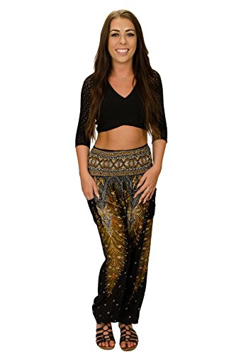 Happy Trunks Women's Hippie Yoga Elephant Pants S M L 8 Colors - Harem Pants by (Small, Black Peacock) -