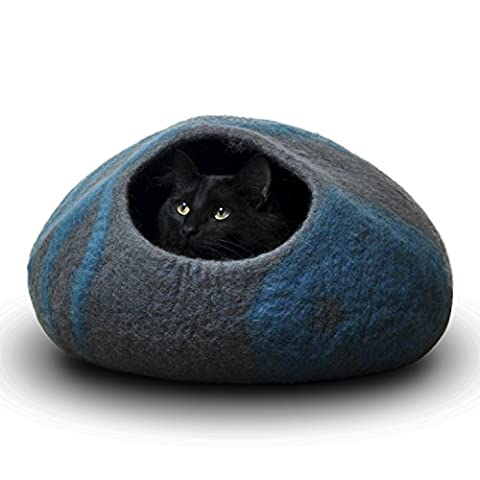 CatGeeks Premium Felt Cat Cave (Large) - All-Natural 100% Merino Wool - Handmade Indoor Cat House - Soft, Comfortable Cat Bed - Ideal for Kittens & Large Cats, (Movie Cool Dry Place)
