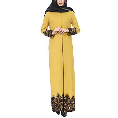 Kanzd Womens Coat Muslim Women Lace Trimmed Front Abaya Muslim Maxi Kaftan Kimono (Yellow, XL) -