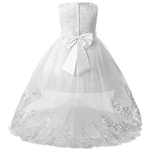 ZAH Little/Big Girls High-Low Bridesmaid Flower Girl Baptism Christening Birthday Party Dress (White,5-6Y) (Designer Christening Gowns)