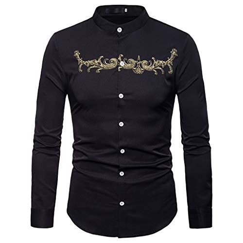 Long Sleeve Tops for Men,Cinsanong Sale! Embroidery Casual Gold Blouse Spring Autumn Oversized T-Shirt