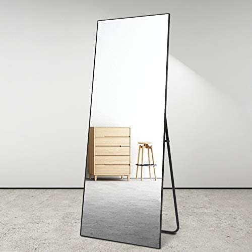 BOLEN Dressing Mirror Full Length Mirror Standing Hanging or Leaning Against Wall Mirror Aluminum Alloy Frame Mirror 65 x22 Black