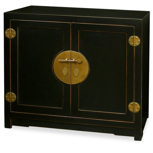 ChinaFurnitureOnline Elmwood Cabinet, Hand Crafted Ming Style Vanity Cabinet in Matte Black with Distressed Edges ()