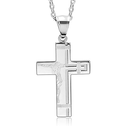 Proud Mary Costume Ideas (Beydodo Stainless Steel Pendant Necklace for Her Womens Necklaces Jesus Cross Crucifix Silver)