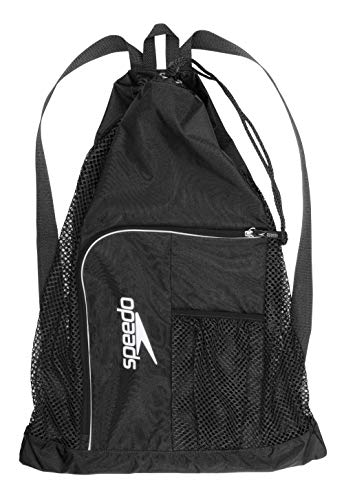 Speedo Deluxe Ventilator Mesh Equipment Bag, Black, 1SZ Deluxe Beach Tote Bag