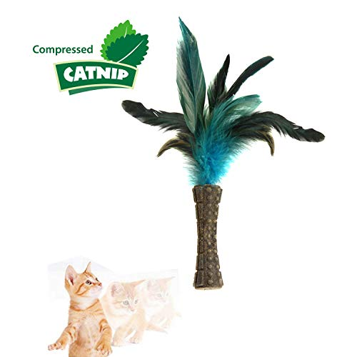 Gigwi Cimpressed Catnip Cat Toys Waistline Style Johnny Stick with One Side Natural Feather, Cat Feather Stick Toys/Catnip Sticks, Size 3, Blue Color