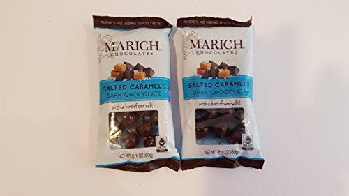 Marich Chocolates Dark Chocolate Sea Salted Caramels ( 2 Pack) 2.1 oz. each.