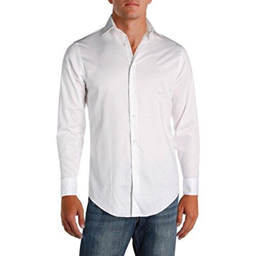 (Geoffrey Beene Men's Sateen Fitted Solid Spread Collar Dress Shirt, White, 14.5