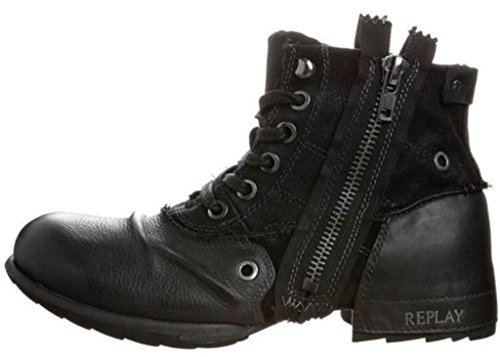 Replay Clutch Black Mens Side Zip Mid Boots In Pelle Con Cinturino Alla Caviglia