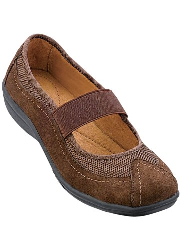 Mary Suede Jane Brown - Carol Wright Gifts Mary Jane Casuals, Color Brown, Size 10 (Extra Wide), Brown, Size 10 (Extra Wide)