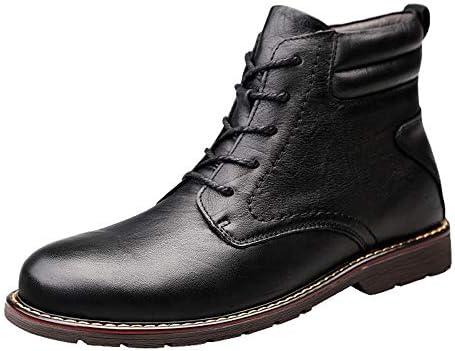 男性用コンバットブーツアンクルブーツレースアップスタイル本革ステッチワックス靴ひも暖かさ滑り止め屋外(フリースインサイドオプション) YueB HAZ (Color : Black Fleece Lined, サイズ : 28 CM)
