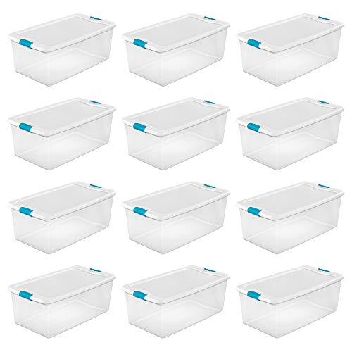 (Sterilite 1499 106-Quart Clear Latching Stacking Storage Box, 12 Pack)