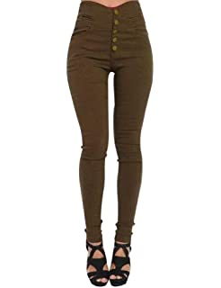 Femme Pantalons Slims à Taille Haute Décoré 5 Boutons Pantalon Sculptant  Tregging Skinny Couleur uni Taille baf0de1bcd7