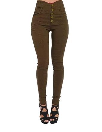 Femme Pantalons Slims à Taille Haute Décoré 5 Boutons Pantalon Sculptant  Tregging Skinny Couleur uni Taille Grande  Amazon.fr  Vêtements et  accessoires 8cdeff77dee