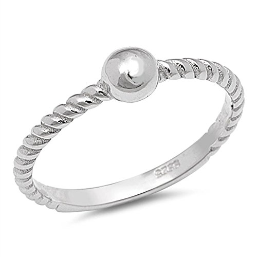 Bead Sterling Silver Toe Ring - Rope Bead Ball Fashion Ring New .925 Sterling Silver Thin Toe Band Size 4