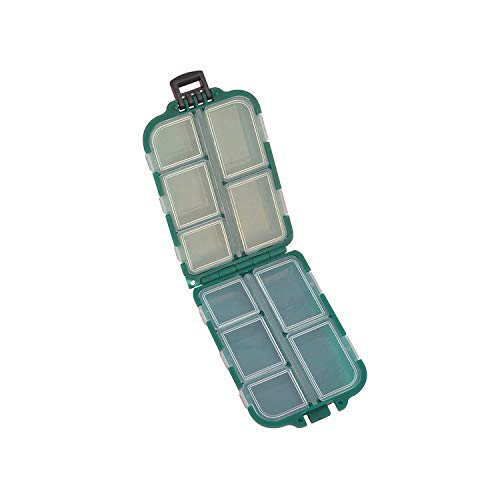 Fishing Tackle Storage Box 1 Piece Green Plastic 10 Compartment Removable Fishing Accessories Assortment Storage Case,1 Piece Green