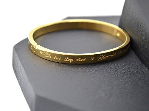 BC2005D - Bracelet Jonc Acier Doré avec Message The best thing about Memories is making them - Mode Fantaisie