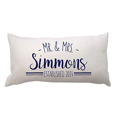 Pattern Pop Arched Mr. and Mrs. with Est Year Lumbar Throw Pillow - 11