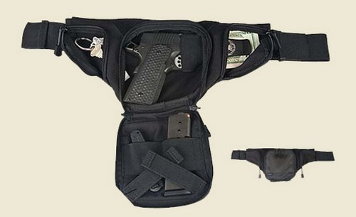 Black Tactical Large Concealed Carry Fanny Pack with Holster Roma 6501 from Roma Leathers