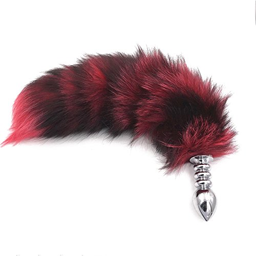 Joycentre Red Faux Fox Tail Stainless Steel Fun Plug Romance Games Play Party Toy Love Gift for High Happy,Style 2 (L)