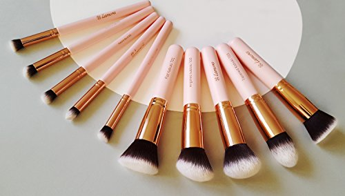 Kabuki Makeup Brush Set - Foundation Powder Blush Concealer Contour Brushes - Perfect For Liquid, Cream or Mineral Products - 10 Pc Collection With Premium Synthetic Bristles For Eye and Face Cosmetic (Angled Blush Brush Mac)