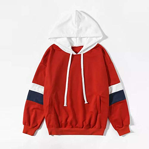 Sweat Blouse Pull Casual Hooded Rouge Débardeur à Top Pull Longues Molletonné Femme Pullover Sweatshirt Beikoard Manches Capuche 54F0U4Zq