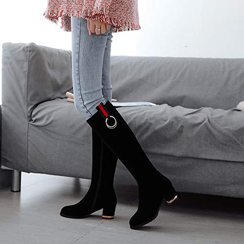 KPHY Damenschuhe Hoher Zylinder Zylinder Zylinder Aber Das Knie Stiefel Heel 6 cm Dicke Sohle 100 Sätze Metall - Dekoration Dicke Sohle Hohe Stiefel b6881f
