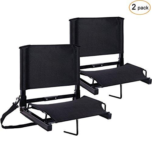 Stadium Cushion Seat - Ohuhu Stadium Seats Bleacher Chairs Seat with Backs and Cushion, Folding & Portable, Bonus Shoulder Straps, 2 Pack