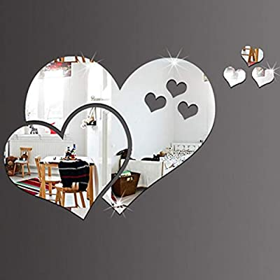 Amazon.com: Batop DIY Circles Wall Mirror Stickers - Vinyl Art Mural Wall Sticker - Room Decoration - Sofa TV Background Home Wall Decor (Silver Heart): ...