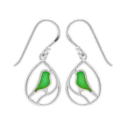 Boma Jewelry Sterling Silver Green Turquoise Bird Teardrop Inlay Earrings