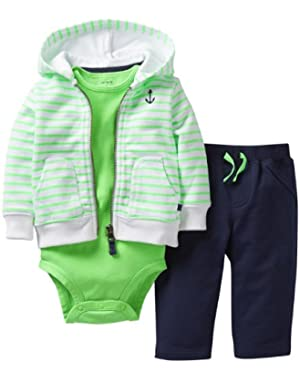 Carter's 3 Piece Hooded Cardigan Set (Baby) - Green/Navy-24 Months