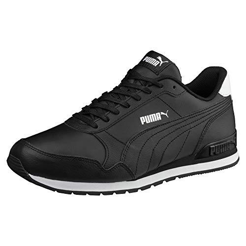 (PUMA Women Men ST Runner v2 Full L   Leather Sneaker Sport Running Fashion   Black EU 40.5 - US W9.5/M8)