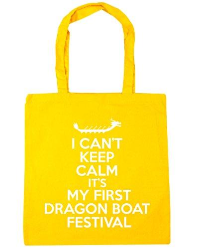 HippoWarehouse no puedo Mantener la calma es mi primera Dragon Boat Festival Tote Compras Bolsa de playa 42cm x38cm, 10litros amarillo