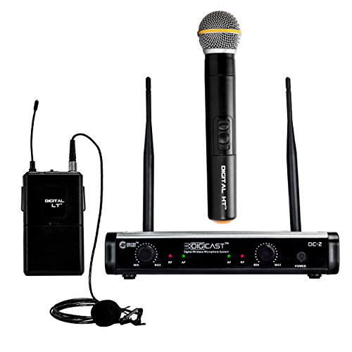 CenterStage DigiCast DC-2 Dual Digital Wireless System with one Handheld and one Lapel Microphone– 300 ft range – 48kHz / 24-bit digital conversion - Simple set up – Detailed sound ()