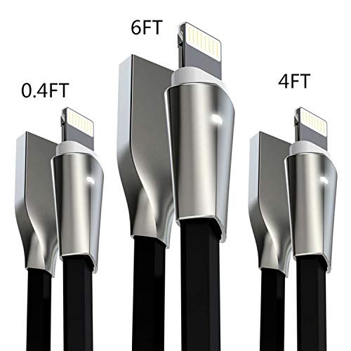 Aimus iPhone Charger, 3 Pack iPhone Charging Cables for iPhone X/8/8 Plus/7/7 Plus/6/6 Plus/5/5S/5C/SE, iPad Air iPod, W/LED Light iPhone USB Cables - 0.4FT+4FT+6FT (Black) by Aimus