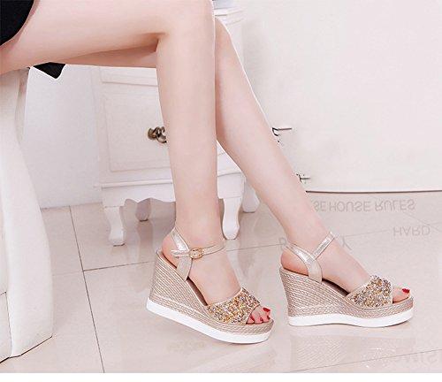 Scothen Mujer bajos del tobillo de la cuña era muy austeras punta de la cuña sandalias mujeres calza las sandalias talón de la plataforma de desplazamiento/cuña de las sandalias gladiadores bucle Gold
