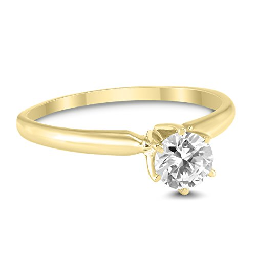 3/8 Carat Round Diamond Solitaire Ring in 14K Yellow Gold ()