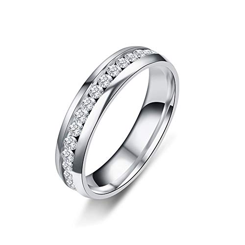 SL SweetLove 6MM High Polish Eternity Titanium Ring Cubic Zirconia Wedding Band with CZ Sizes 11