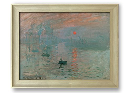 Impression Sunrise by Claude Monet Framed Art Print Famous Painting Wall Decor Natural Wood Finish Frame