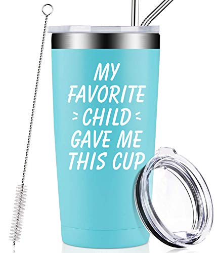My Favorite Child Gave Me This Cup, Best Mom Dad Birthday Gifts from Daughter, Son, Kids - Mother's Day, Christmas Funny Present Idea for Women, Men, Him, Her, Father, Tumbler with Lid and Straw