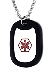 """Medical Alert ID Dog Tag Necklace with 20"""" Rolo Chain (Custom Engraved)"""