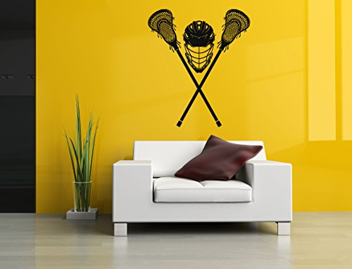 AratikDesigns Removable Vinyl Sticker Mural Decal Wall Art Decor Helmet Lax Lacrosse Racket Poster Sport Ball Active Boy Girl Bedroom Nursery Playroom Trophy SA216]()