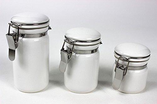 Oggi 3 Piece - Oggi 3 Piece Ceramic Mini Canister Set, Cylinder Shape (White)