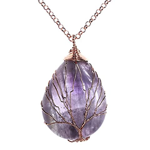 Top Plaza Wire Wrapped Tree of Life Natural Gemstone Teardrop Pendant Necklace Healing Crystal Chakra Jewelry for Women - (Amethyst Stone Jewelry)