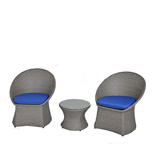 Cheap JETIME Patio Furniture Rattan Outdoor 3pcs Bistro Set Indoor Garden Wicker Furniture Chairs and Table Set Cushioned Seatwith Navy Blue Cushion