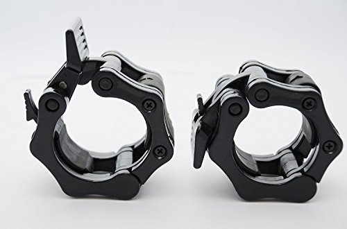 """Quick Release Pair of Locking 2"""" Olympic Size Barbell Clamp Collar Great for Pro Crossfit Training by Clout Fitness (black)"""